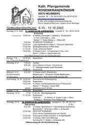 Kath. Pfarrgemeinde ROSENKRANZKÖNIGIN Gottesdienstordnung ...