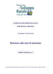 Relazione Stato di Attuazione PSR Sicilia 2007-2013