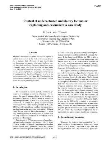 Control of Underactuated Undulatory Locomotor ... - bart-smith labs