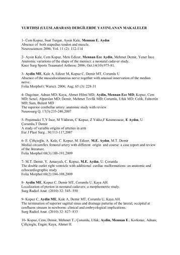 yayın listesi ve yayınlar