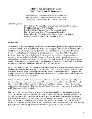 ERTAC Rail Emissions Inventory Part 3 - Georgia Environmental ...
