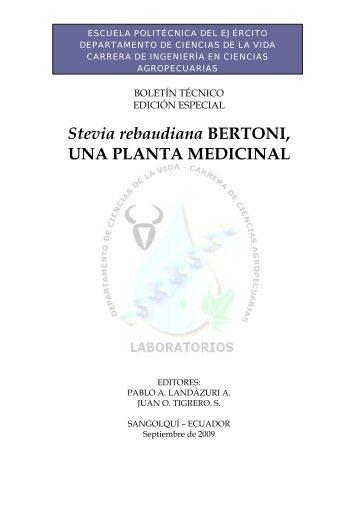 Stevia rebaudiana BERTONI, UNA PLANTA MEDICINAL