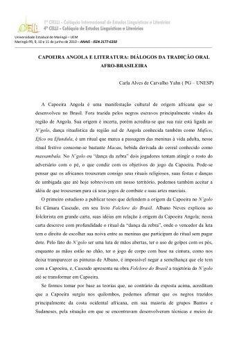 CAPOEIRA ANGOLA E LITERATURA: DIÁLOGOS DA ... - Cielli