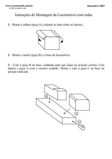Instruções de Montagem da Locomotiva com rodas - RecorteCole
