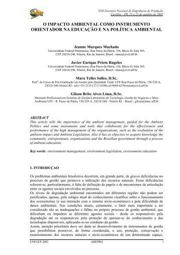 O impacto ambiental como instrumento orientador na ... - Abepro