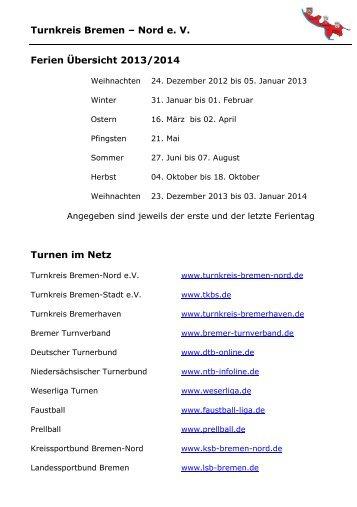 Terminplaner 2013 - Turnkreis Bremen Nord