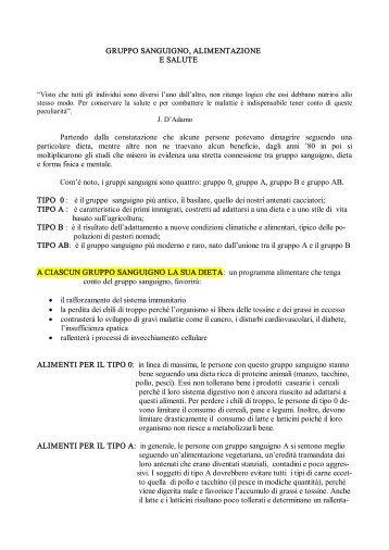GRUPPO SANGUIGNO, ALIMENTAZIONE E SALUTE - Studio ...