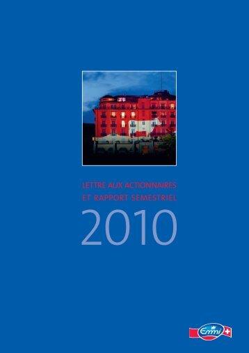 Rapport semestriel 2010 - Emmi