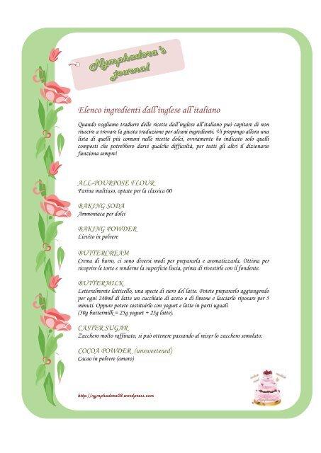 Ricetta In Inglese Traduzione.Elenco Ingredienti Dall Inglese All Italiano