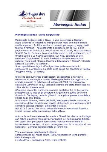 Mariangela Sedda - Note biografiche Mariangela Sedda è nata a ...