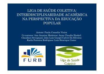 LIGA DE SAÚDE COLETIVA: INTERDISCIPLINARIDADE ...