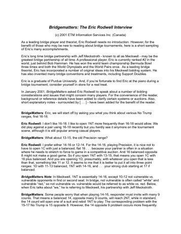 Bridgematters: The Eric Rodwell Interview - Bridge Guys