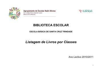 Listagem de Livros por classes da Escola Básica Santa Cruz Trindade