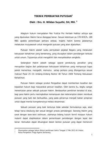 Teknik Pembuatan Putusan - Pengadilan Tinggi Agama Semarang