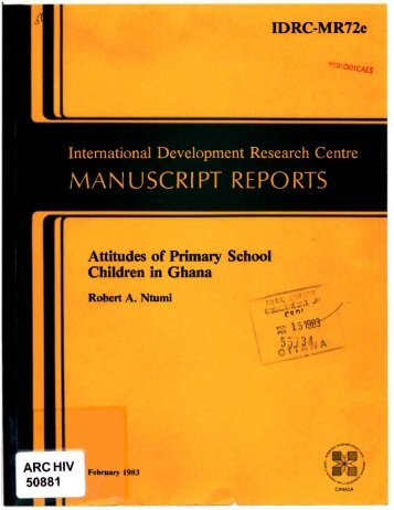 MAN USCRIPT REPORTS - the IDRC Digital Library - International ...