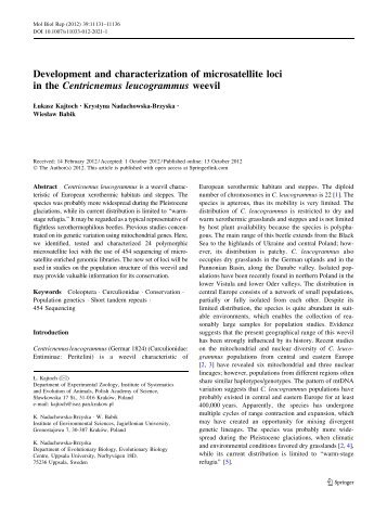 Development and characterization of microsatellite loci in the ...