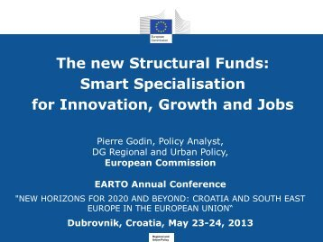 The new Structural Funds: Smart Specialisation for Innovation, Growth and Jobs