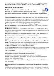 Infoblatt KOHLENHDRATE UND BALLASTSTOFFE