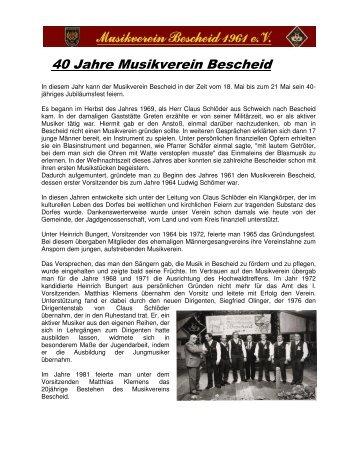 40 Jahre Musikverein Bescheid