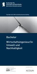 Wirtschaftsingenieur/ in Umwelt und Nachhaltigkeit Bachelor
