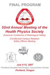 Final Program for 52nd Annual Meeting of the Health Physics Society