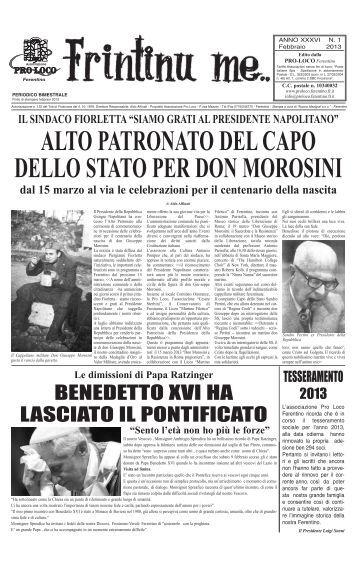 BeneDeTTo XVI Ha LasCIaTo IL PonTIFICaTo - Pro Loco