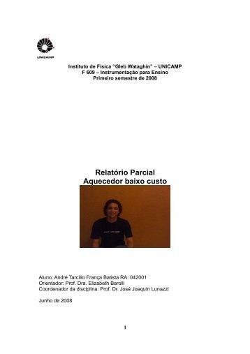 Relatório Parcial Aquecedor baixo custo - Instituto de Física Gleb ...