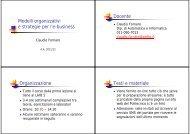 Modelli organizzativi e strategie per l'e-business Docente ...