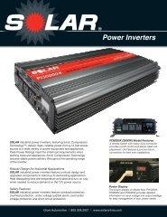 SOLAR Power Inverters Sell Sheet - Clore Automotive