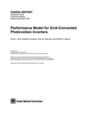 Performance Model for Grid-Connected Photovoltaic Inverters