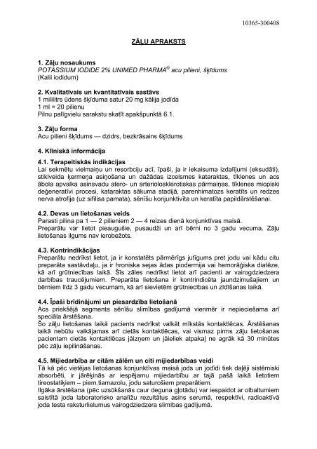 10365-300408 ZĀĻU APRAKSTS 1. Zāļu nosaukums POTASSIUM ...