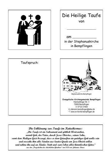 Die Heilige Taufe - Evang. Kirchenbezirk Bad Urach