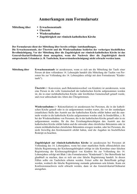 Anmerkungstafel Zum Formular Erzbistum Hamburg