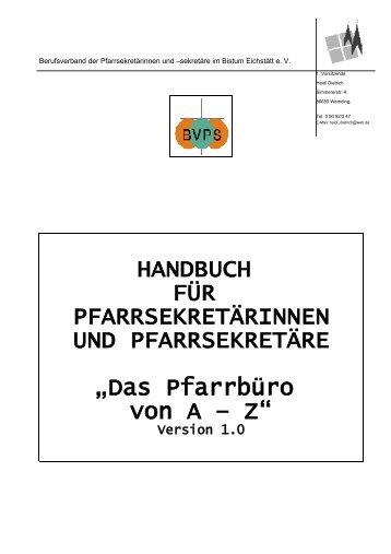 Das Pfarrbüro von A – Z - Bistum Eichstätt