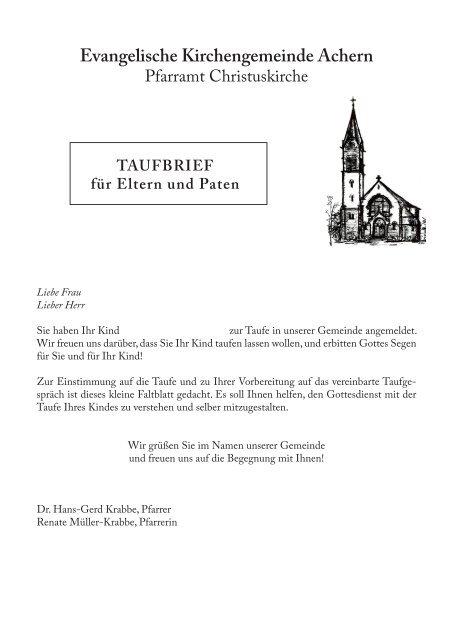 Taufbrief Für Eltern Und Paten Evangelische