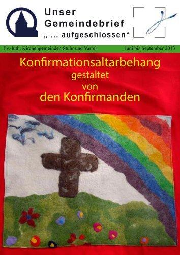 Konfirmationsaltarbehang den Konfirmanden - Kirche-stuhr.de