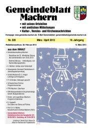 Amtsblatt Nr. 220 März 2013 - Gemeinde Machern