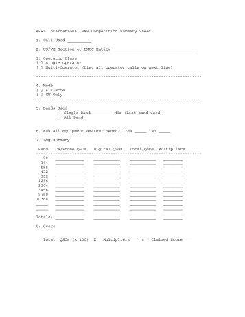EME Summary Sheet (PDF) - ARRL
