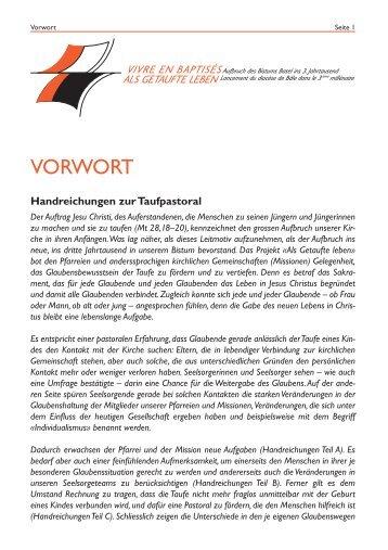 Handreichungen zur Taufpastoral - Katholische Kirche (Schweiz)