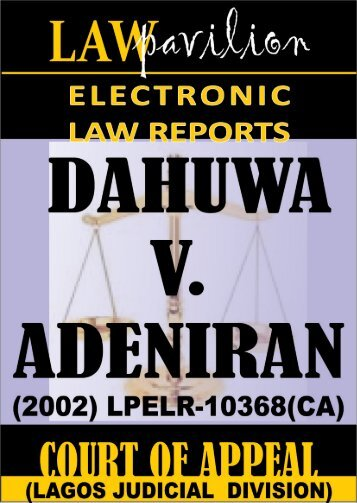 ALHAJI ISA DAHUWA v. ADEGBAMIYE ADENIRAN