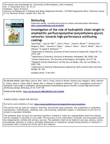 Investigation of the role of hydrophilic chain length in amphiphilic ...