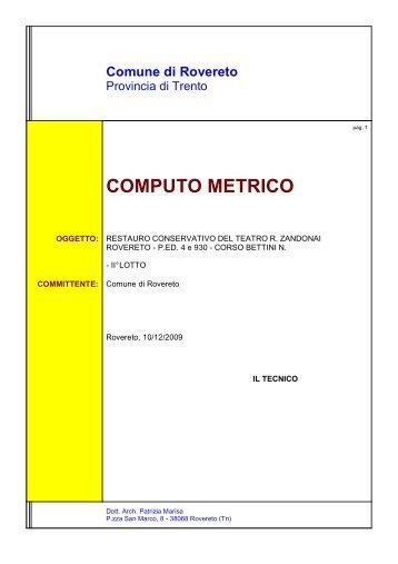 Concerti e spettacoli comune di rovereto - Computo metrico estimativo esempio casa ...