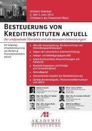 Besteuerung von Kreditinstituten aktuell - AH Akademie für ...