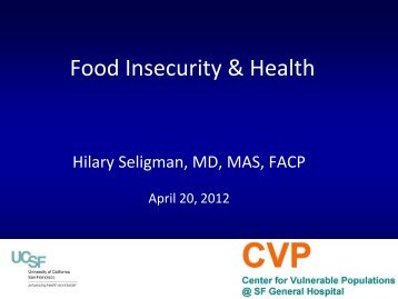 Food Insecurity and Health Presentation Feeding America Network