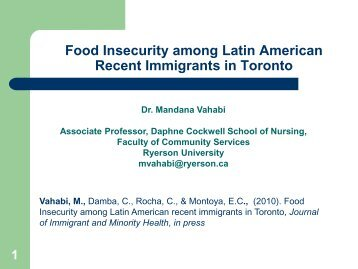 Food Insecurity among Latin American Recent Immigrants ... - CERIS