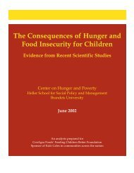The Consequences of Hunger and Food Insecurity for Children