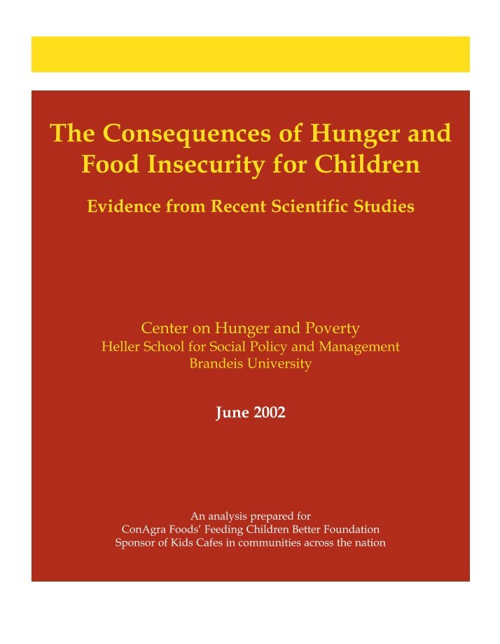 food insecurity and hunger in the