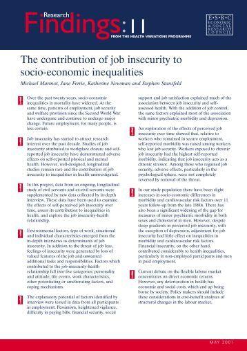 The contribution of job insecurity to socio-economic inequalities