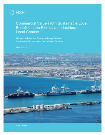 Commercial Value From Sustainable Local Benefits in the ... - BSR