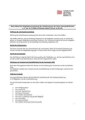Protkoll JHV-04 - Verkehrsverein Bremen